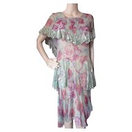 1930 Garden Party Chiffon Dress Cape Collar in Nile Green and Purple Rose Lace Accents As Is