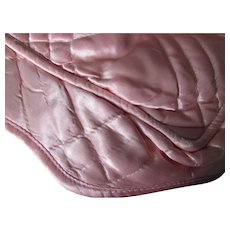 Hollywood Style Quilted Satin Lay Over Pillow Case in Ballerina Pink