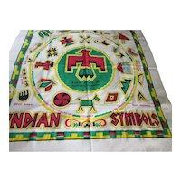 Table Cloth of Indian Symbols Yucca Print Hand Printed Cactus Cloth 1959 Black Hawk Park Rock Island IL
