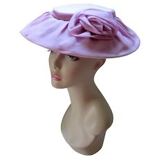 Pretty Wide Brim Hat in Lavender and Lilac Chiffon Garden Party Summer Wedding