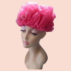 Whimsical Peony Pink Net Swirl Bubble Hat Mid Century 1960 Style