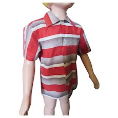 Little Boy Shirt Red White Brown Stripe Boy's Favorites Size 6 Mid Century
