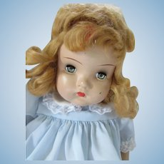 Little Girl Composition Doll with Cloth Body Unmarked As Is