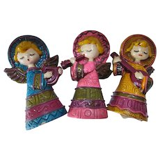 Holiday Decor Trio Paper Mache Angels Playing Instruments Lee Ward 1970's Made in Japan