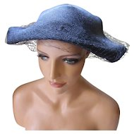 Sophisticated Navy Straw Hat with Angled Wings by Lazarus 1950 Style