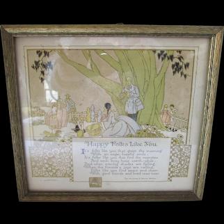 Framed Deco Era Motto or Poem Happy Folks Like You 1929 Buzza Co