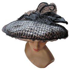 1950 New Look Era Wide Brim Hat in Black Cream Houndstooth Large Satin Bow and Antennae