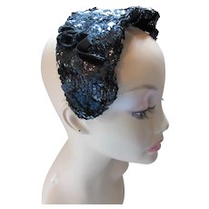 Black Sequin Cocktail Hat Head Band Mid Century Style