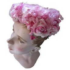 Lovely 1960 Era Bouffant Hat in Profusion of Pink Roses My Hat's a Michele