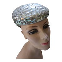 Dazzling Cocktail Hat in Silver Sequins Mid Century Style