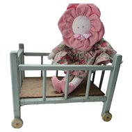 Small Doll Crib in Painted Wood Green with Yellow Wheels