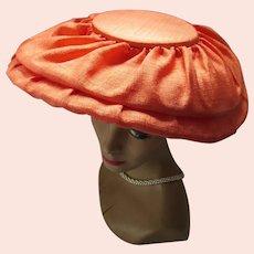 Mid Century Wide Brim Platter Hat Tangerine Shantung 1960 Style