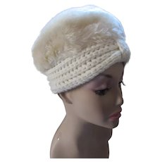 Turban Style Hat in Winter White Knit and Faux Fur