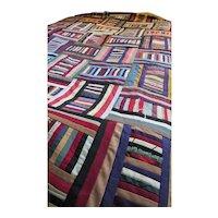 Striking Tied Quilt Log Cabin Variation Deep Jewel Tones Full Size