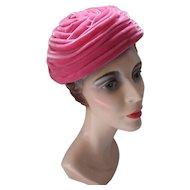 Mid Century Peony Pink Velvet Swirled Band Hat by Renetta's Fashions
