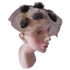 Unique Mid Century Whimsy Hat with Mink Puffs on Net