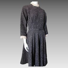 Fantastic Mid Century Day Dress in Black Gray Pink Wool with Pink Angora Knit Collar Cuffs Johnathan Logan