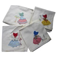 Vintage Kitchen Dish Towels Sun Bonnet Applique Gardening Theme Cute Prints
