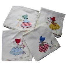 Vintage Kitchen Dish Towels Sun Bonnet Applique Gardening Theme Cute Prints