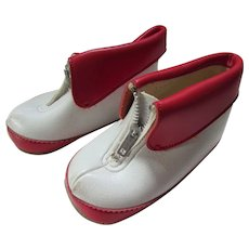 Child or Large Doll Vintage Cuffed Boots in Red and White Size 3