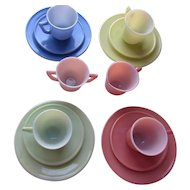 Children's Dishes Modern Tone by Hazel Atlas Pink Green Blue Yellow Creamer and Sugar