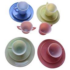 Children's Dishes Modern Tone by Hazel Atlas Pink Green Blue Yellow Creamer and Sugar