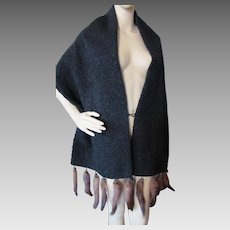 Fabulous Faux Curly Lamb and Real Mink 1940's Style Stole or Cape Bullock's Accessory Shop