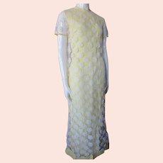 Prettiest Summer Long Dress White Lace & Lemon Yellow