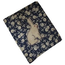 Fabric Book Cover in Blue Cream with Applique Rabbit 1926 Book The Beacon Primer