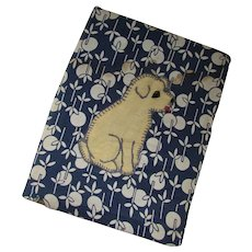 Fabric Book Cover in Blue Cream with Applique Dog 1926 Book The Beacon First Reader