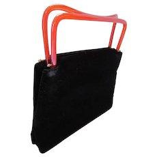 Vintage Tote Handbag in Black Velveteen with Root Beer Plastic Handles by Garay