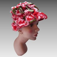 Joyous 1960's  Lamp Shade Style Hat in Pink Tipped Red Carnations Union Label