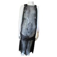 Beaded Chiffon 1920's Era Flapper Dress in Black Geometrics For Salvage