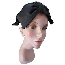 Black Half Hat with Large Fabric Bow Mid Century Saks Fifth Avenue