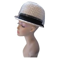 Mid Century Bucket Hat in White Woven Millinery Cellophane with Black White Stitching Ribbon Band Del Bene Union Made