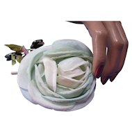 Feminine Organdy Rose Dress Corsage or Millinery Decoration in Mint Green Free Shipping USA