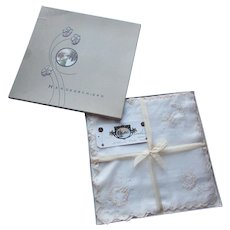 Original Box of Ladies Scalloped Embroidered Handkerchiefs