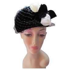Black Velvet High Topper hat with White Roses and Black Veil