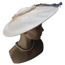 Wide Brim Picture Hat in Cream Linen 1950 Era