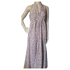 1970/1980  Era Halter Long Dress in Eggplant and Gold Metallic Home Tailored