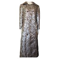Fantastic Brocade Evening Coat in Silver Metallic and Cocoa Brown Home Tailored For Colder Months