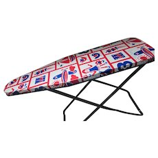 Wolverine Metal Child Ironing Board in Red White Blue Patchwork 1970 Style