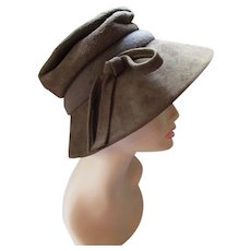 1970 Style Slouch Hat or Lampshade Style in Cocoa Tone Faux Suede by Dajon New York