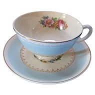 Homer Laughlin Cups and Saucers Eggshell Georgian Chateau Pattern Light Blue with Pink Roses Made in USA Set of Four