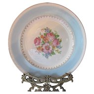 Cottage Style Homer Laughlin Dinner Plates Eggshell Georgian Chateau Pattern Light Blue with Pink Roses Made in USA Set of Eight
