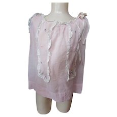 Child or Large Doll Dress Pink Batiste Lace Edging Embroidered Panels 1930 Style