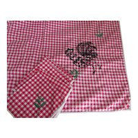 Farmhouse Style Table Cloth & Napkins Red Gingham Black Rooster Embroidery