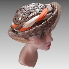 Mid Century Hat Breton Style in Cocoa Brown and Braided Beige, Orange and Cocoa Union Label