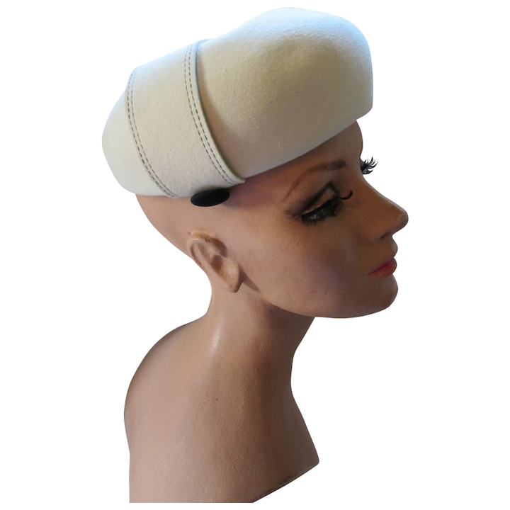 aa12f3759b4f6 Handsome Winter White Felt Bubble Hat with Black Button Tabs Betmar    Maude s Vintage Ware