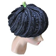 Navy Pouf Hat with Lime Top Knot Rhinestone Decoration Original Mr. Stanley